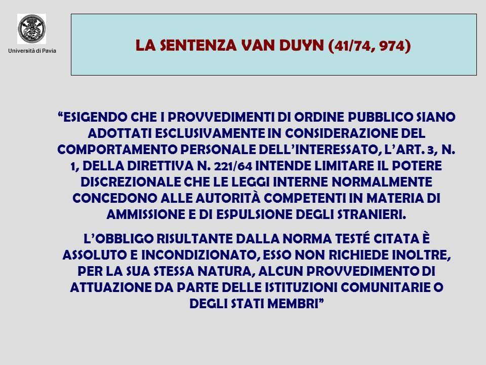 LA SENTENZA VAN DUYN (41/74, 974)