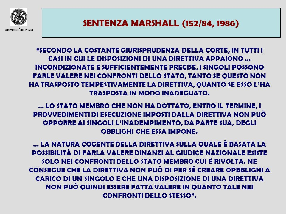 SENTENZA MARSHALL (152/84, 1986)Università di Pavia.