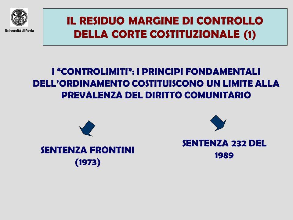 IL RESIDUO MARGINE DI CONTROLLO DELLA CORTE COSTITUZIONALE (1)