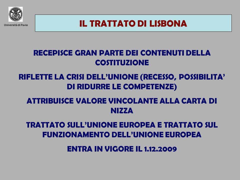 IL TRATTATO DI LISBONA Università di Pavia. RECEPISCE GRAN PARTE DEI CONTENUTI DELLA COSTITUZIONE.
