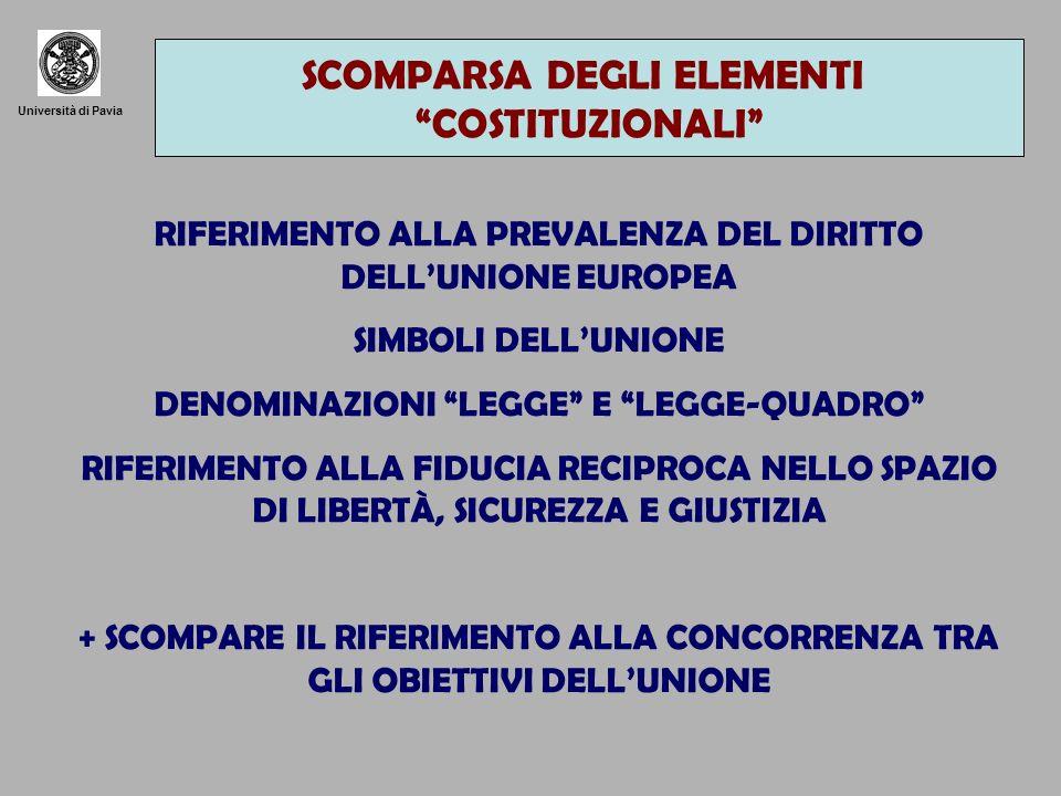 SCOMPARSA DEGLI ELEMENTI COSTITUZIONALI