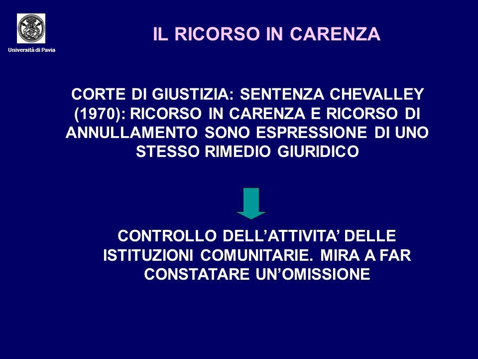 IL RICORSO IN CARENZA Università di Pavia.