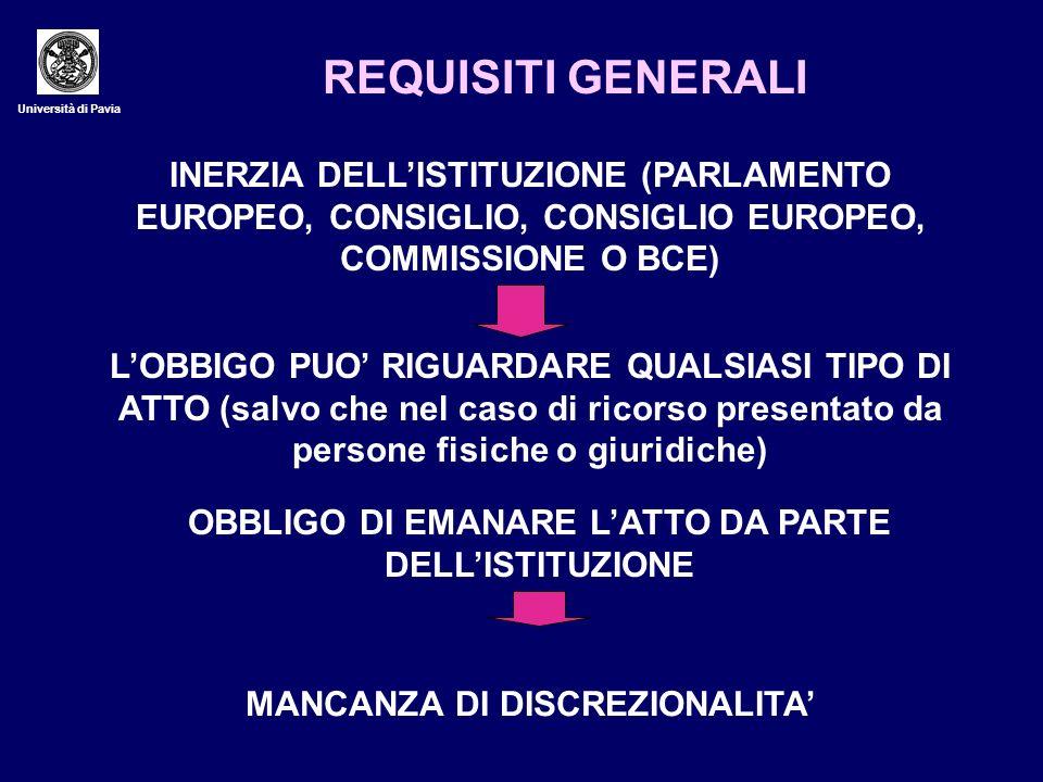 REQUISITI GENERALI Università di Pavia. INERZIA DELL'ISTITUZIONE (PARLAMENTO EUROPEO, CONSIGLIO, CONSIGLIO EUROPEO, COMMISSIONE O BCE)