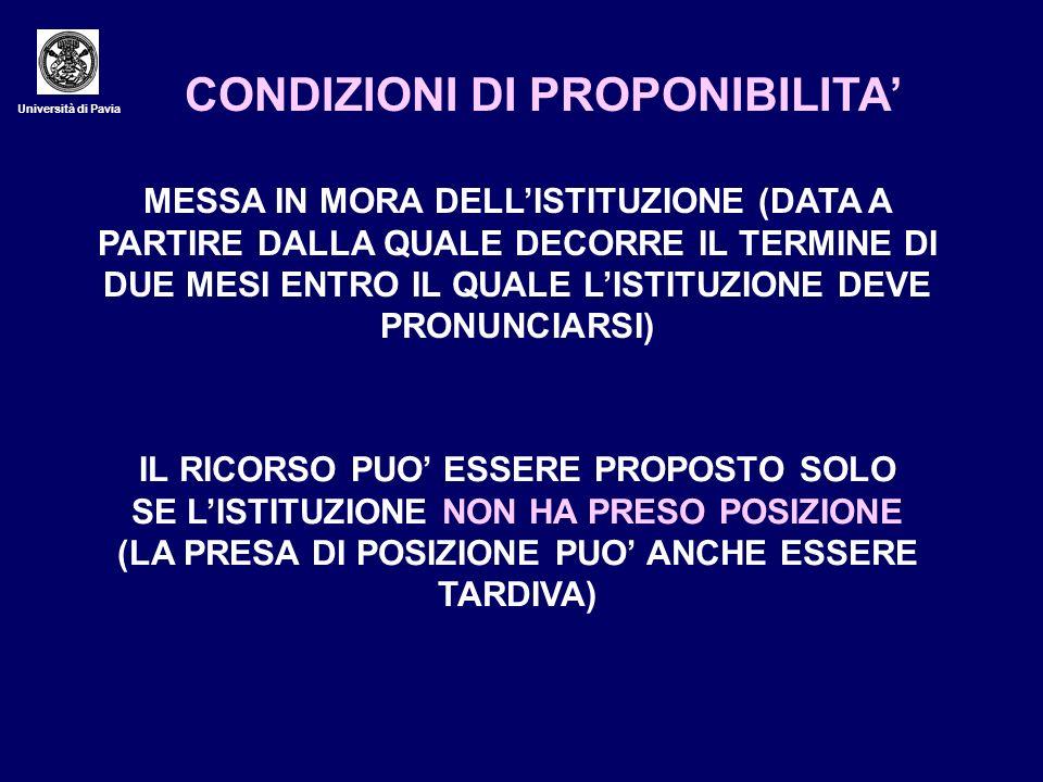 CONDIZIONI DI PROPONIBILITA'