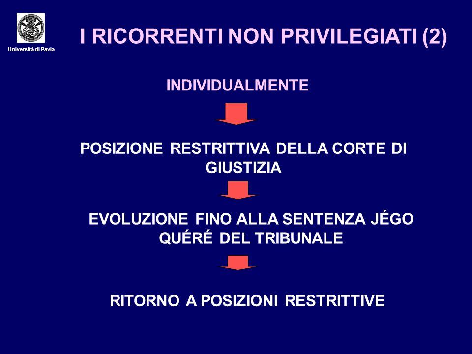 I RICORRENTI NON PRIVILEGIATI (2)
