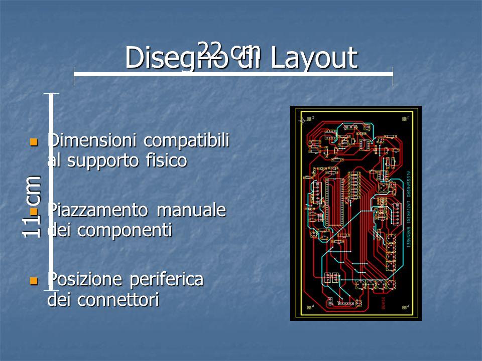 Disegno di Layout 22 cm. Dimensioni compatibili al supporto fisico. Piazzamento manuale dei componenti.