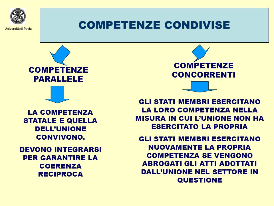 COMPETENZE CONDIVISE COMPETENZE CONCORRENTI COMPETENZE PARALLELE
