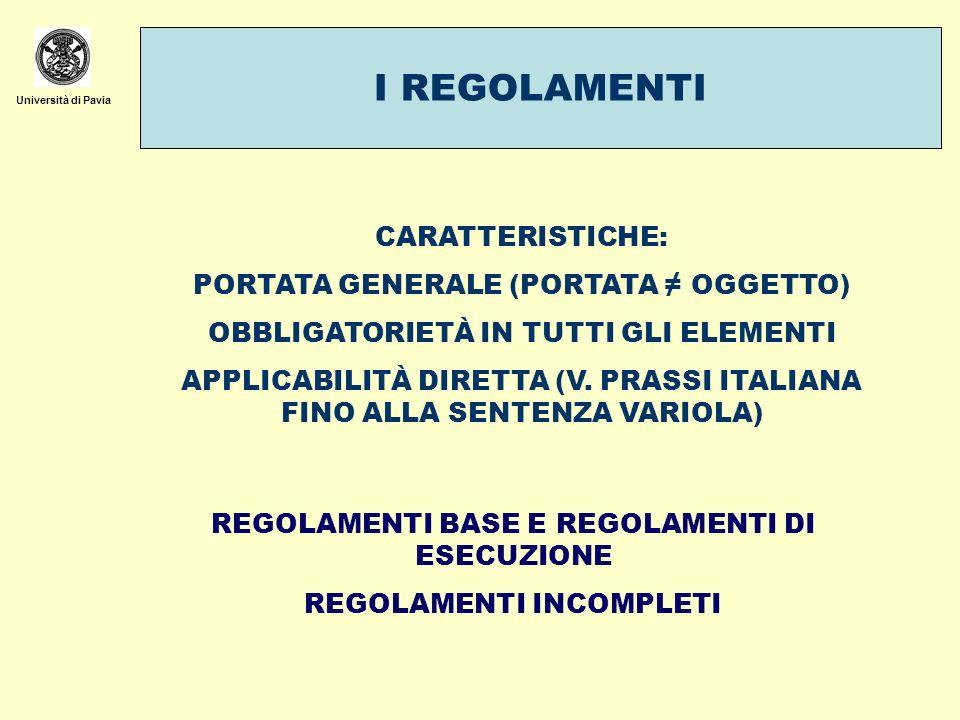 I REGOLAMENTI CARATTERISTICHE: PORTATA GENERALE (PORTATA ≠ OGGETTO)