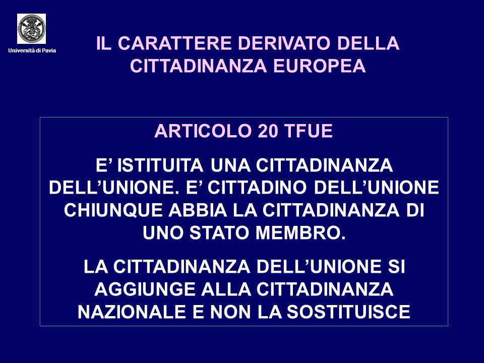 IL CARATTERE DERIVATO DELLA CITTADINANZA EUROPEA