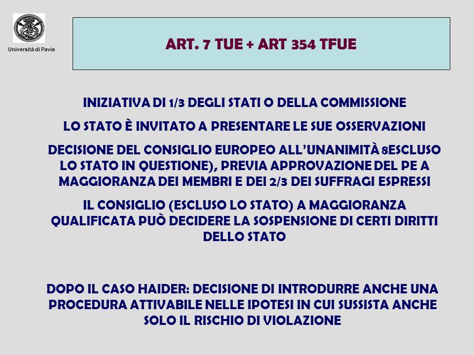 ART. 7 TUE + ART 354 TFUE Università di Pavia. INIZIATIVA DI 1/3 DEGLI STATI O DELLA COMMISSIONE.