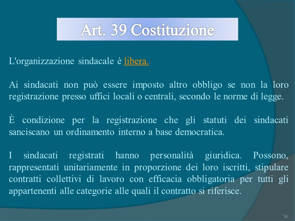 Art. 39 Costituzione L organizzazione sindacale è libera.