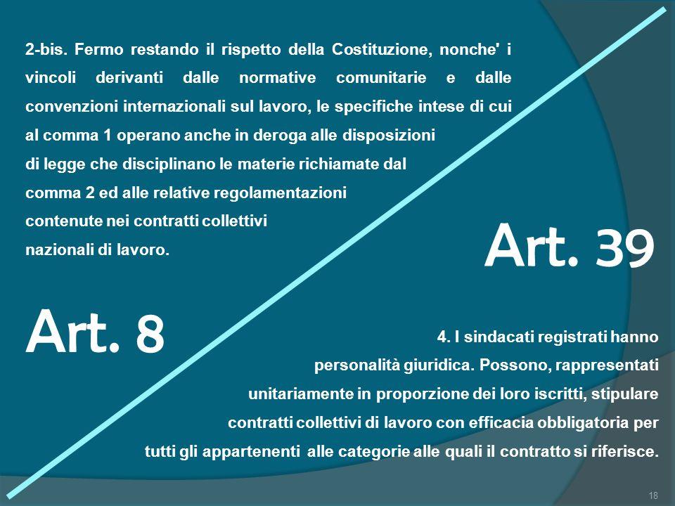 2-bis. Fermo restando il rispetto della Costituzione, nonche i vincoli derivanti dalle normative comunitarie e dalle convenzioni internazionali sul lavoro, le specifiche intese di cui al comma 1 operano anche in deroga alle disposizioni