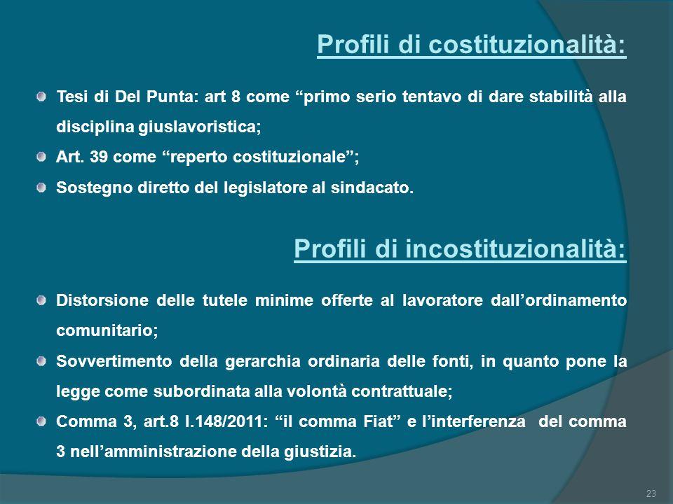 Profili di costituzionalità:
