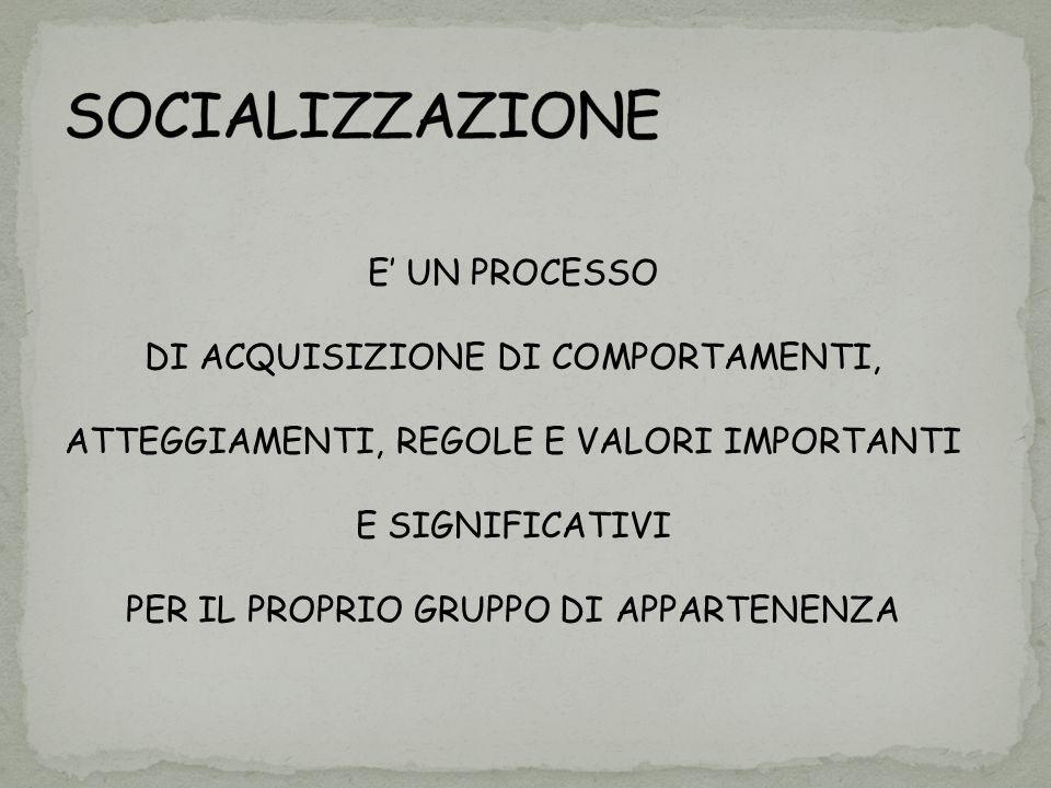 SOCIALIZZAZIONE E' UN PROCESSO DI ACQUISIZIONE DI COMPORTAMENTI,
