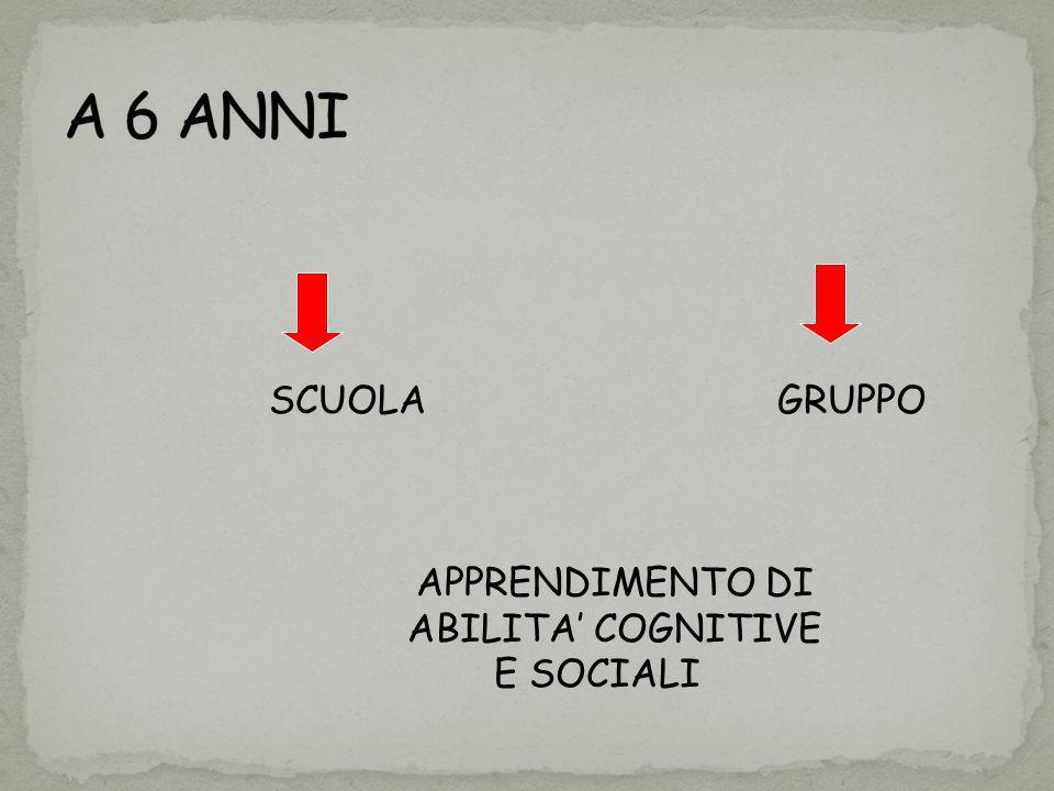 A 6 ANNI SCUOLA GRUPPO APPRENDIMENTO DI ABILITA' COGNITIVE E SOCIALI