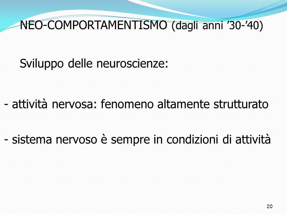 NEO-COMPORTAMENTISMO (dagli anni '30-'40)