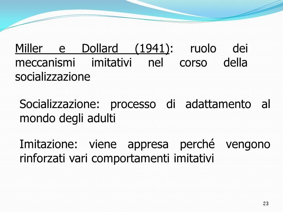 Miller e Dollard (1941): ruolo dei meccanismi imitativi nel corso della socializzazione