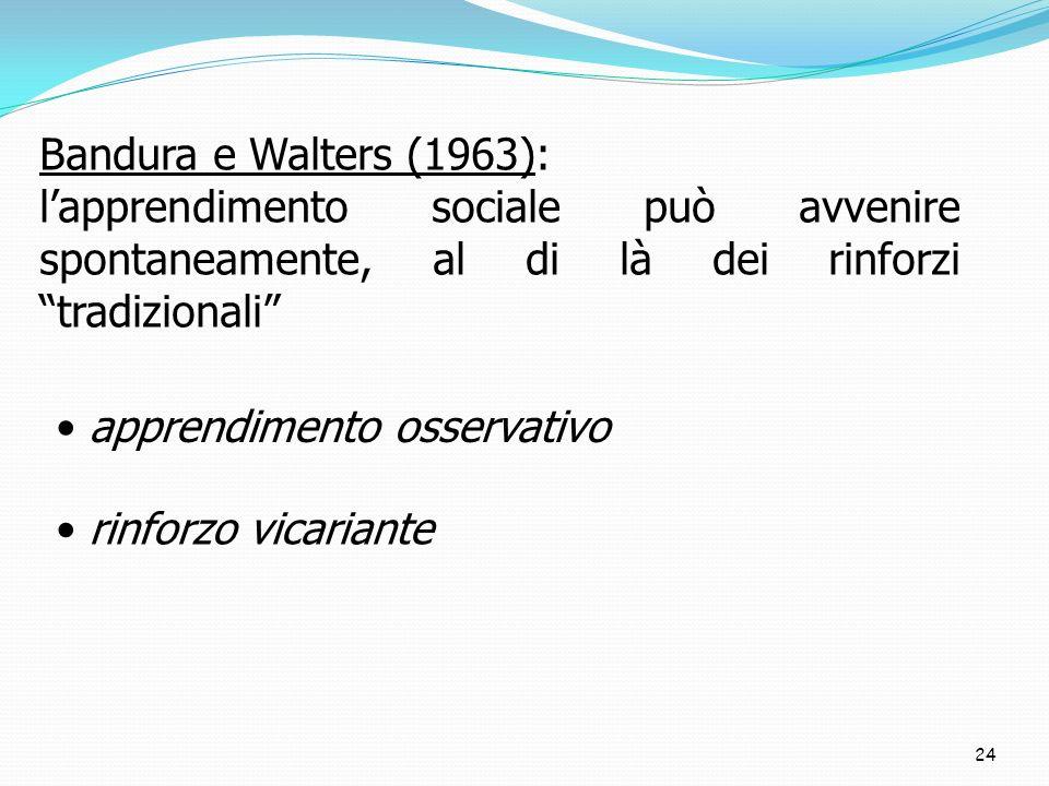 Bandura e Walters (1963): l'apprendimento sociale può avvenire spontaneamente, al di là dei rinforzi tradizionali