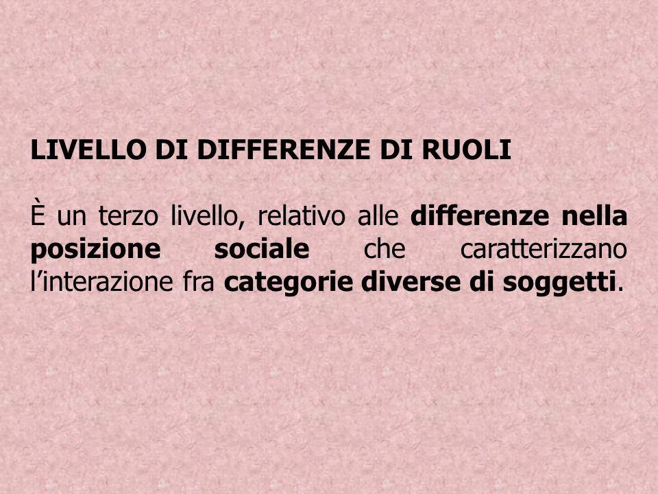 LIVELLO DI DIFFERENZE DI RUOLI