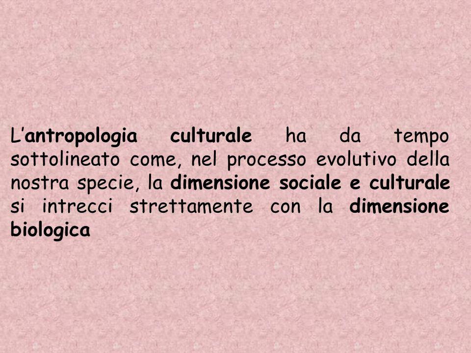 L'antropologia culturale ha da tempo sottolineato come, nel processo evolutivo della nostra specie, la dimensione sociale e culturale si intrecci strettamente con la dimensione biologica