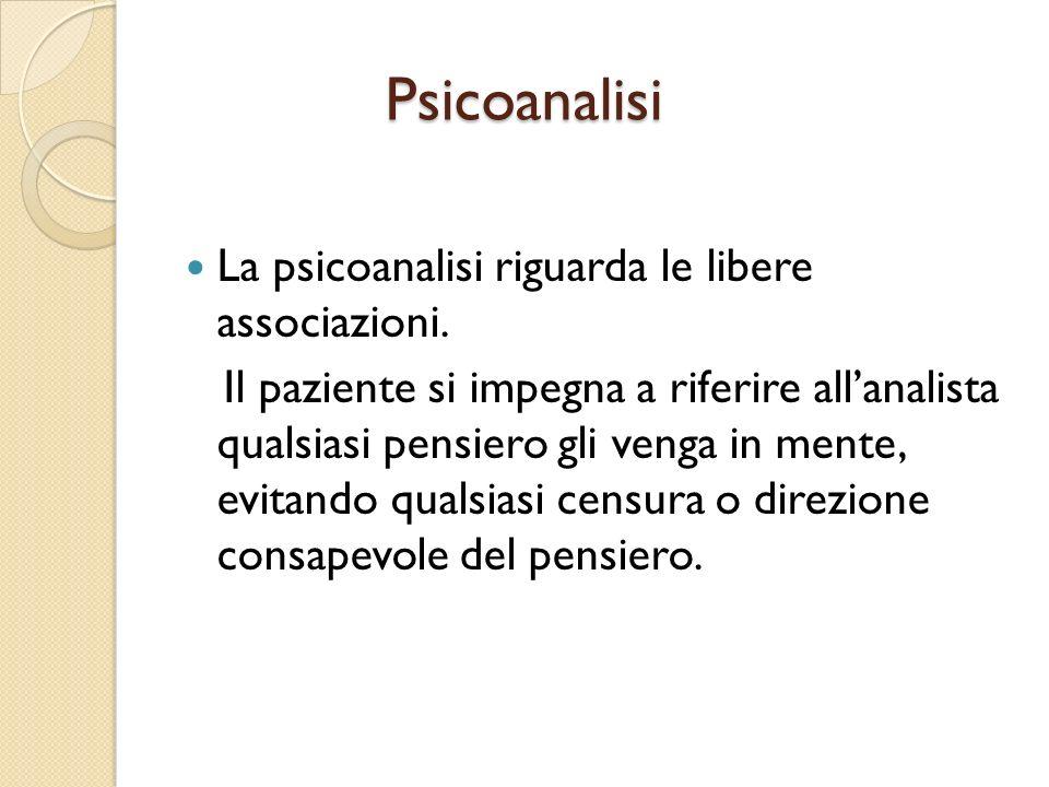 Psicoanalisi La psicoanalisi riguarda le libere associazioni.