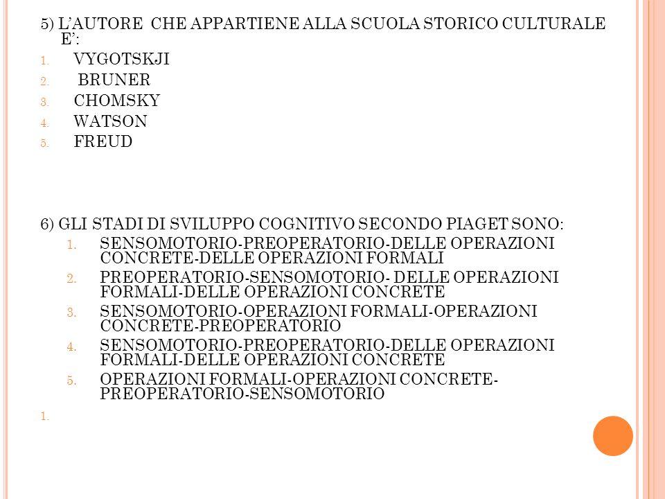 5) L'AUTORE CHE APPARTIENE ALLA SCUOLA STORICO CULTURALE E':