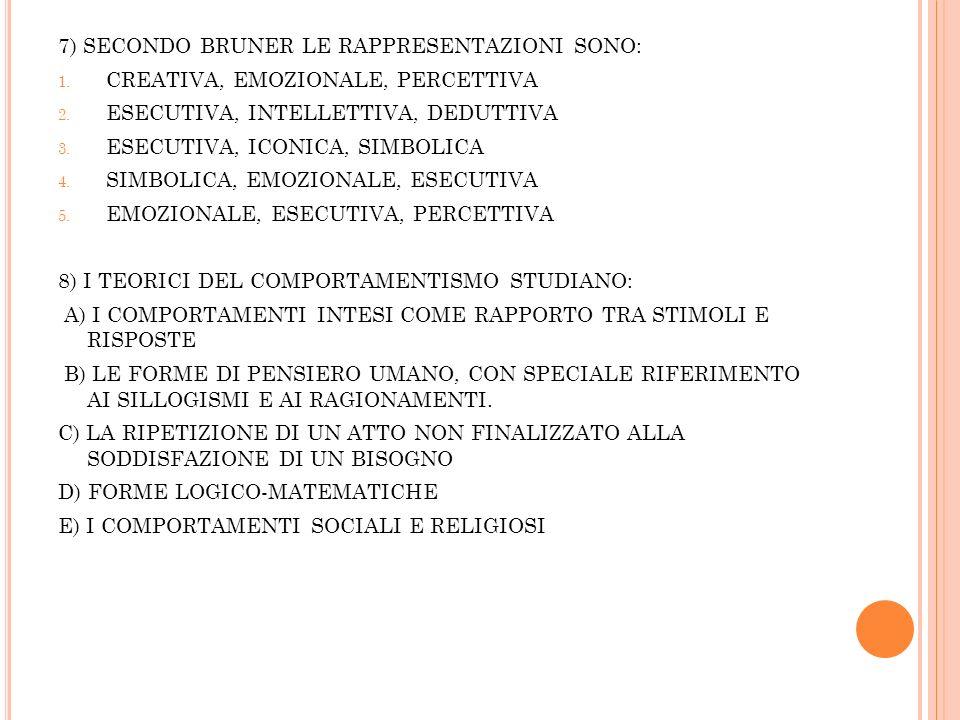 7) SECONDO BRUNER LE RAPPRESENTAZIONI SONO: