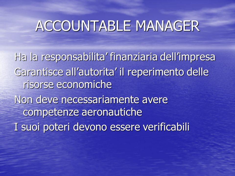 ACCOUNTABLE MANAGER Ha la responsabilita' finanziaria dell'impresa