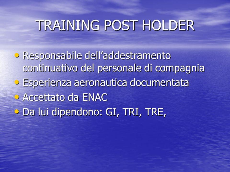 TRAINING POST HOLDER Responsabile dell'addestramento continuativo del personale di compagnia. Esperienza aeronautica documentata.