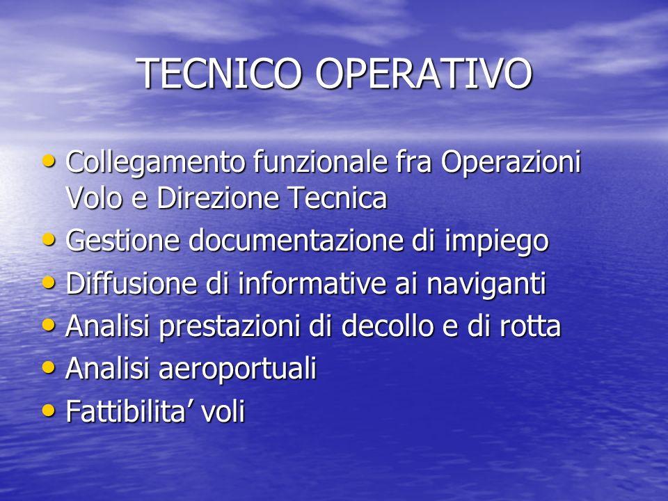 TECNICO OPERATIVO Collegamento funzionale fra Operazioni Volo e Direzione Tecnica. Gestione documentazione di impiego.