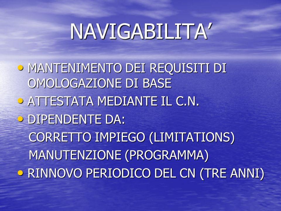NAVIGABILITA' MANTENIMENTO DEI REQUISITI DI OMOLOGAZIONE DI BASE