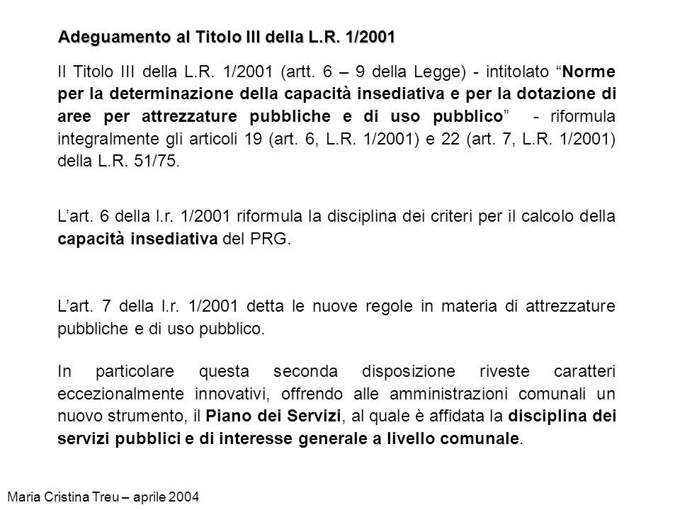 Adeguamento al Titolo III della L.R. 1/2001