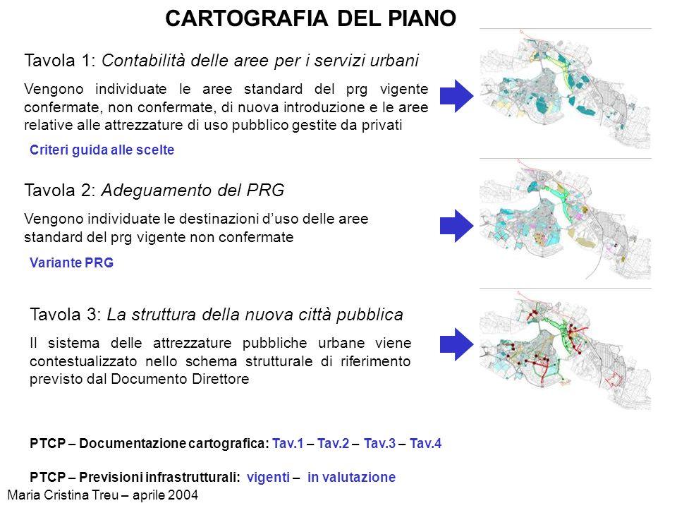 CARTOGRAFIA DEL PIANO Tavola 1: Contabilità delle aree per i servizi urbani.