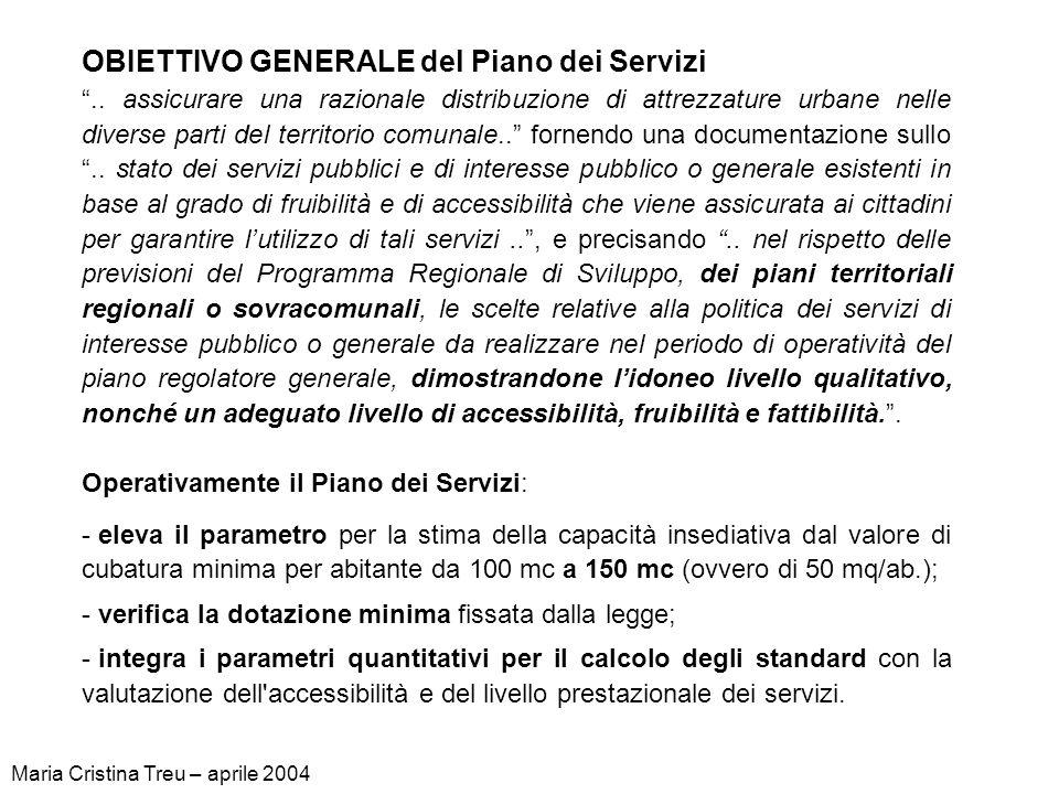 OBIETTIVO GENERALE del Piano dei Servizi