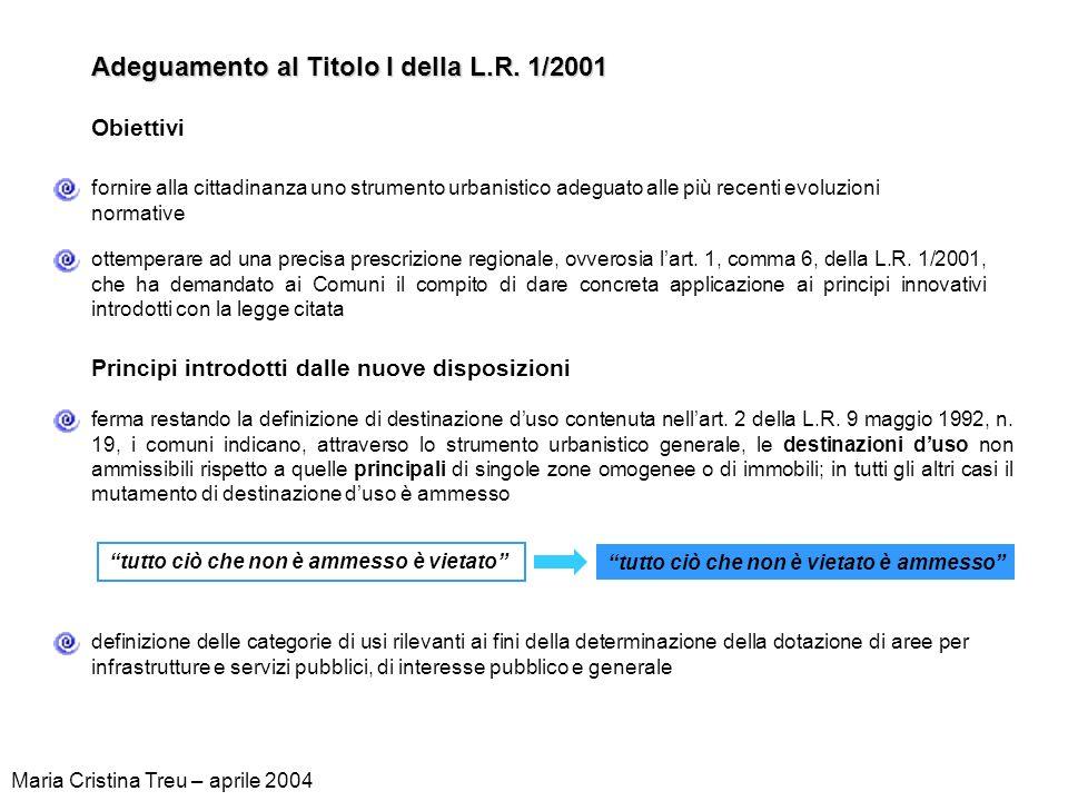 Adeguamento al Titolo I della L.R. 1/2001