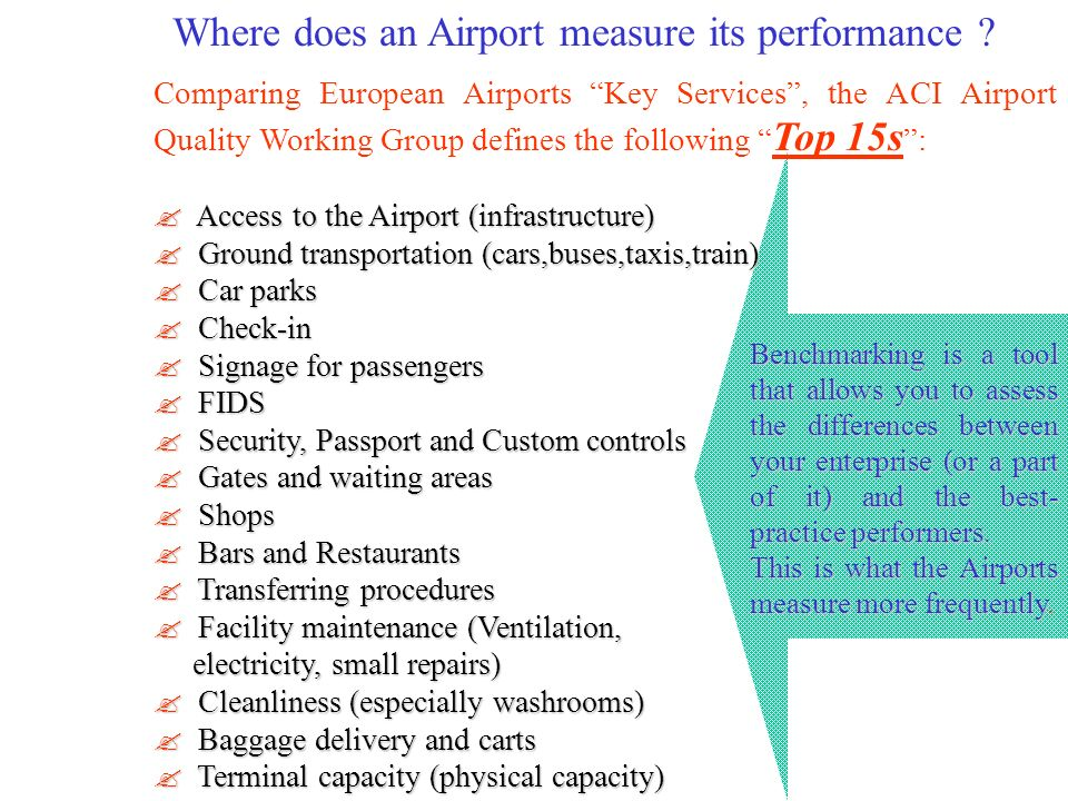 Where does an Airport measure its performance