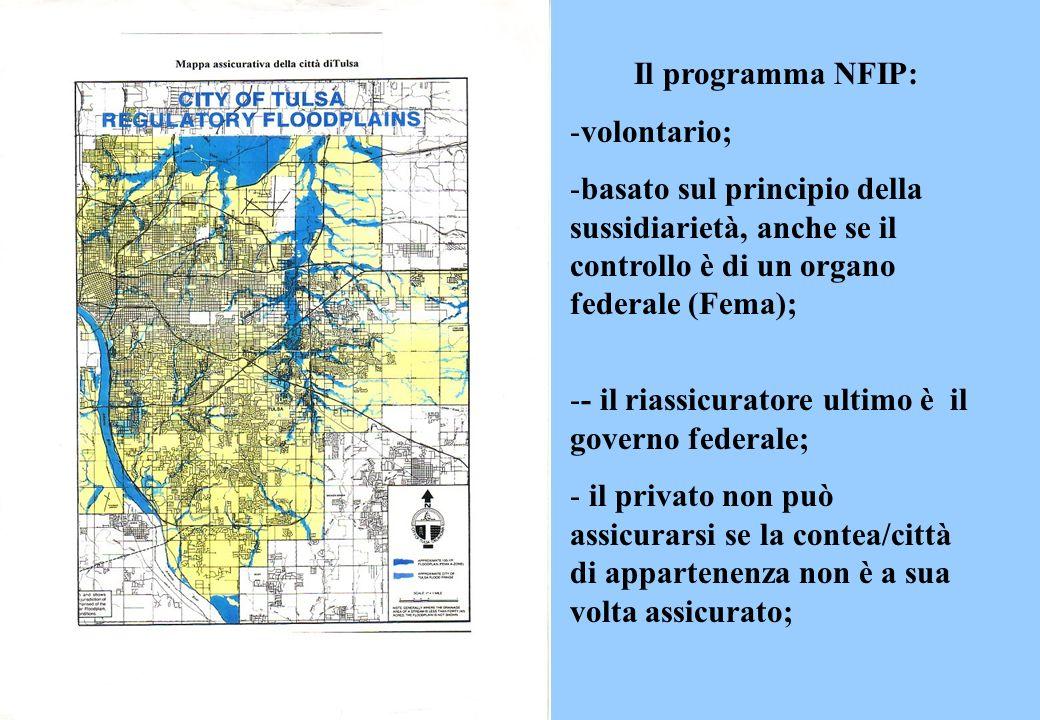 Il programma NFIP: volontario; basato sul principio della sussidiarietà, anche se il controllo è di un organo federale (Fema);