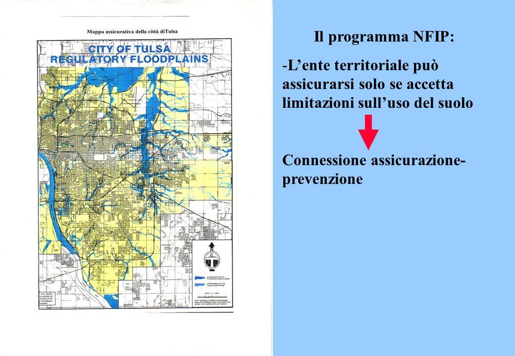Il programma NFIP: L'ente territoriale può assicurarsi solo se accetta limitazioni sull'uso del suolo.