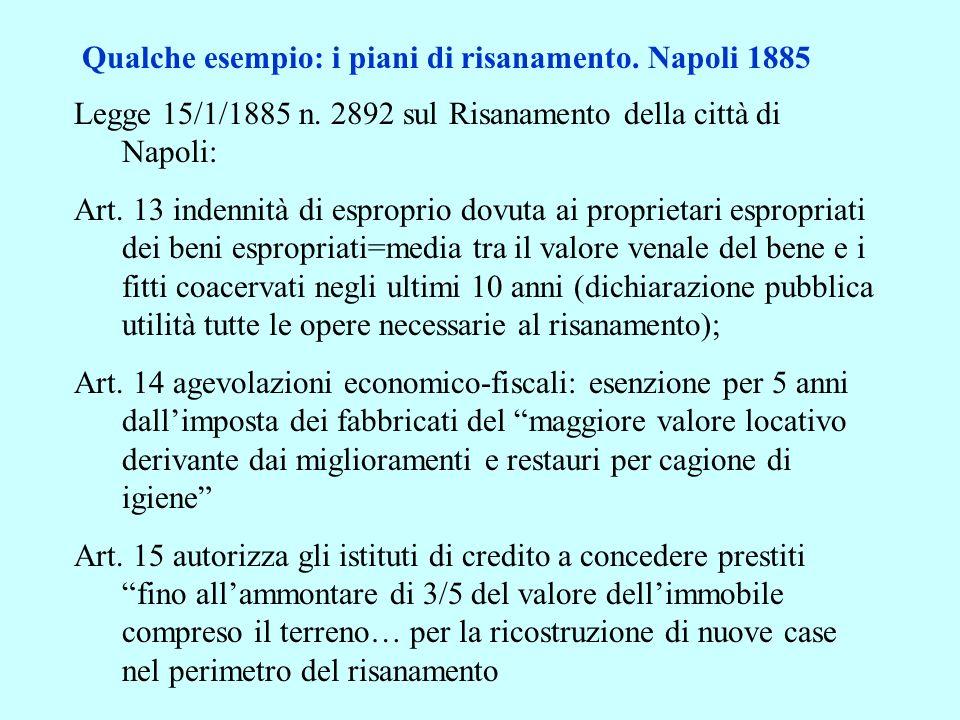 Qualche esempio: i piani di risanamento. Napoli 1885