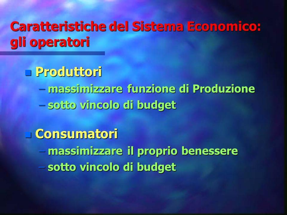 Caratteristiche del Sistema Economico: gli operatori
