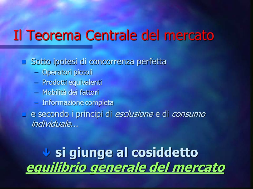 Il Teorema Centrale del mercato