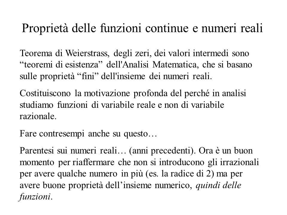 Proprietà delle funzioni continue e numeri reali