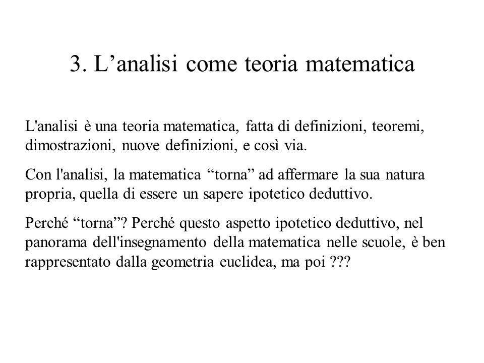 3. L'analisi come teoria matematica