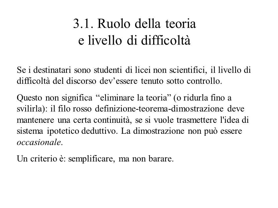 3.1. Ruolo della teoria e livello di difficoltà