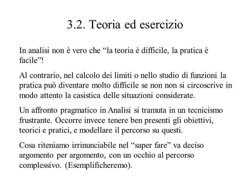3.2. Teoria ed esercizio In analisi non è vero che la teoria è difficile, la pratica è facile !