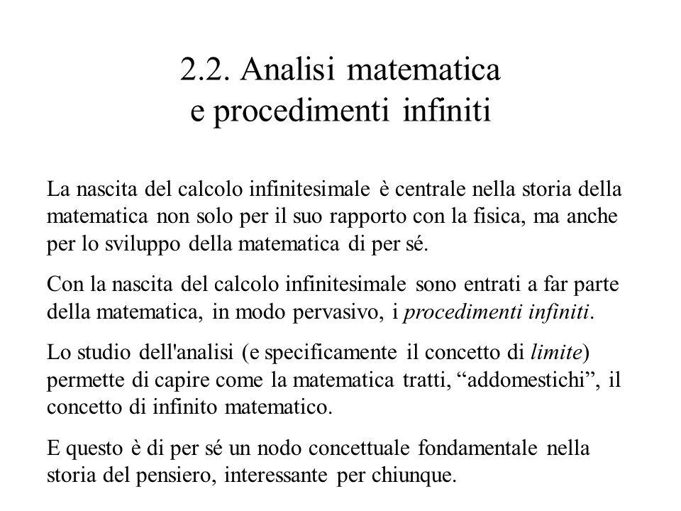 2.2. Analisi matematica e procedimenti infiniti