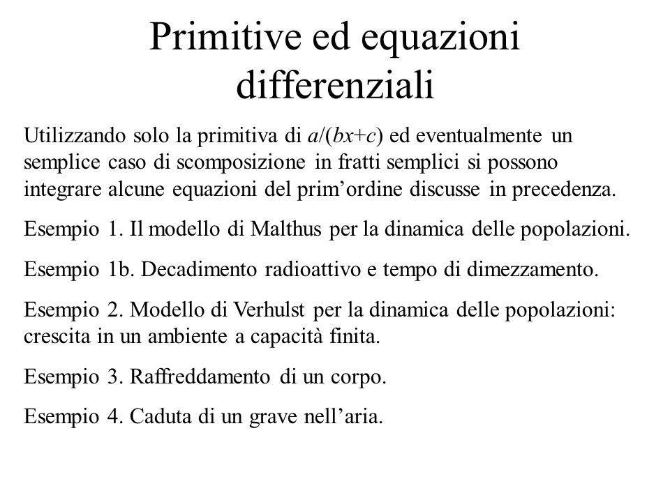 Primitive ed equazioni differenziali
