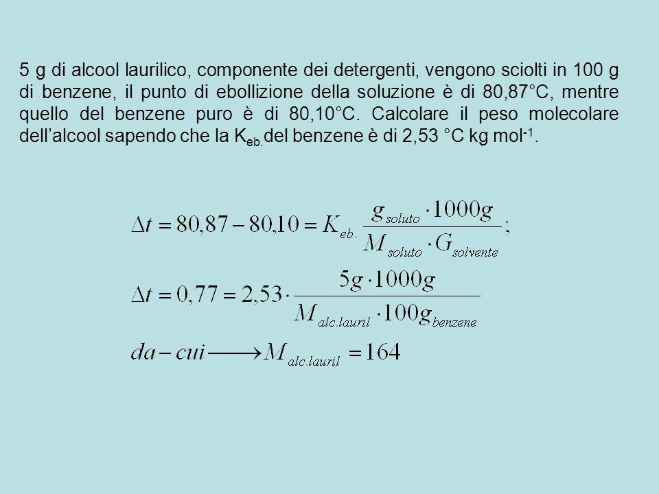 5 g di alcool laurilico, componente dei detergenti, vengono sciolti in 100 g di benzene, il punto di ebollizione della soluzione è di 80,87°C, mentre quello del benzene puro è di 80,10°C.