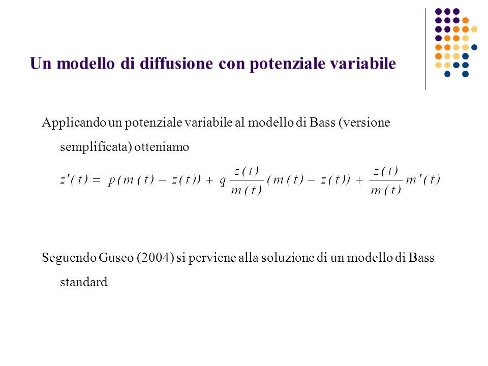 Un modello di diffusione con potenziale variabile