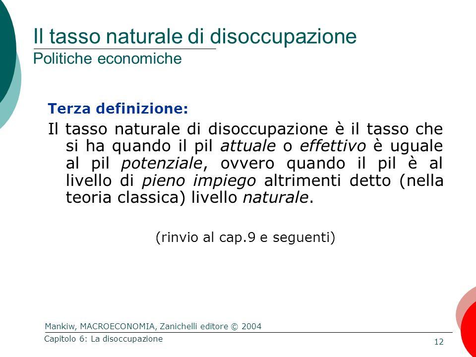 Il tasso naturale di disoccupazione Politiche economiche